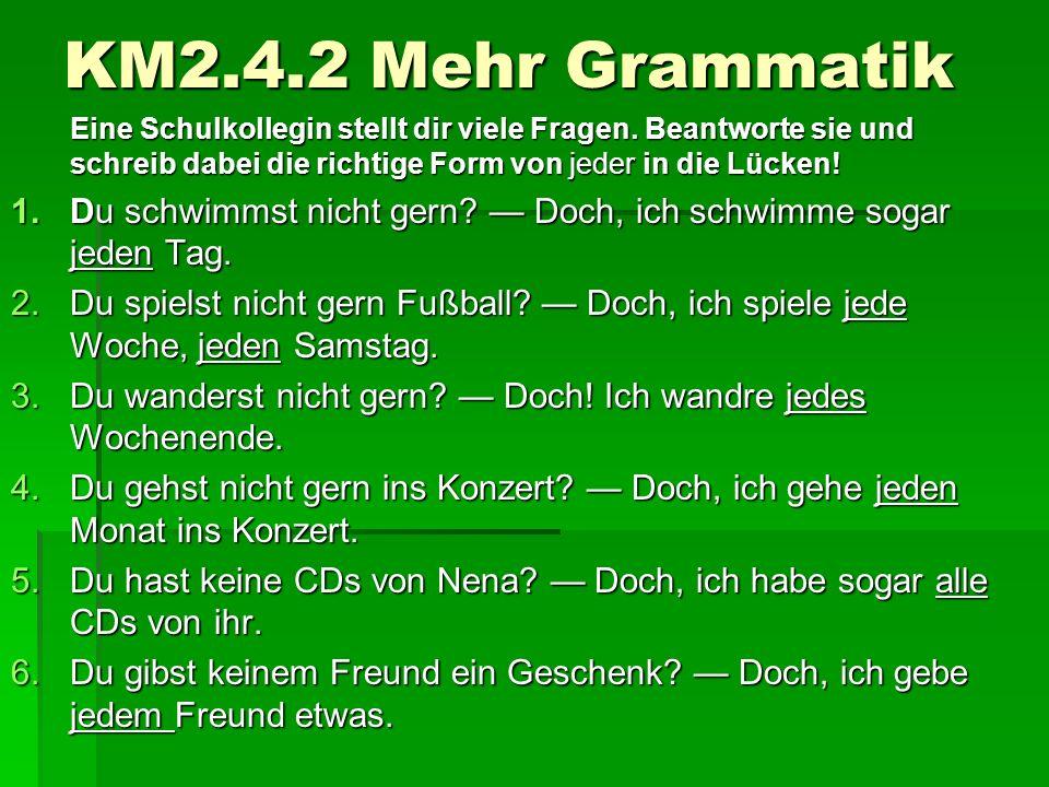 KM2.4.2 Mehr Grammatik Eine Schulkollegin stellt dir viele Fragen.