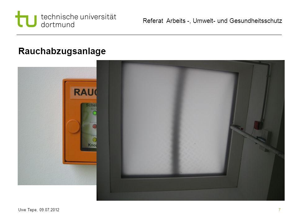 Uwe Tepe, 09.07.2012 Referat Arbeits -, Umwelt- und Gesundheitsschutz 18 Rettungswege Aufzug im Brandfall Nicht benutzen!