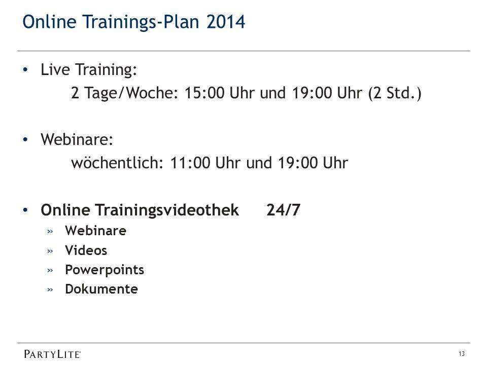 Online Trainings-Plan 2014 13 Live Training: 2 Tage/Woche: 15:00 Uhr und 19:00 Uhr (2 Std.) Webinare: wöchentlich: 11:00 Uhr und 19:00 Uhr Online Trainingsvideothek 24/7 »Webinare »Videos »Powerpoints »Dokumente