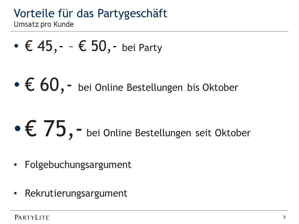 Vorteile für das Partygeschäft € 45,- – € 50,- bei Party € 60,- bei Online Bestellungen bis Oktober € 75,- bei Online Bestellungen seit Oktober Folgebuchungsargument Rekrutierungsargument 8 Umsatz pro Kunde