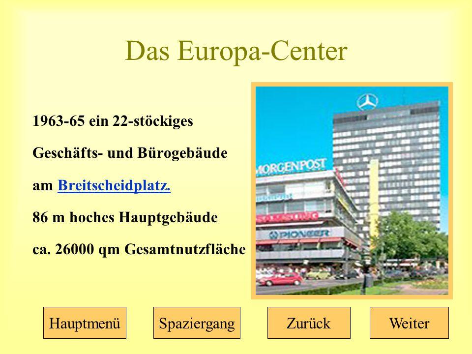 Das Europa-Center 1963-65 ein 22-stöckiges Geschäfts- und Bürogebäude am Breitscheidplatz.Breitscheidplatz.