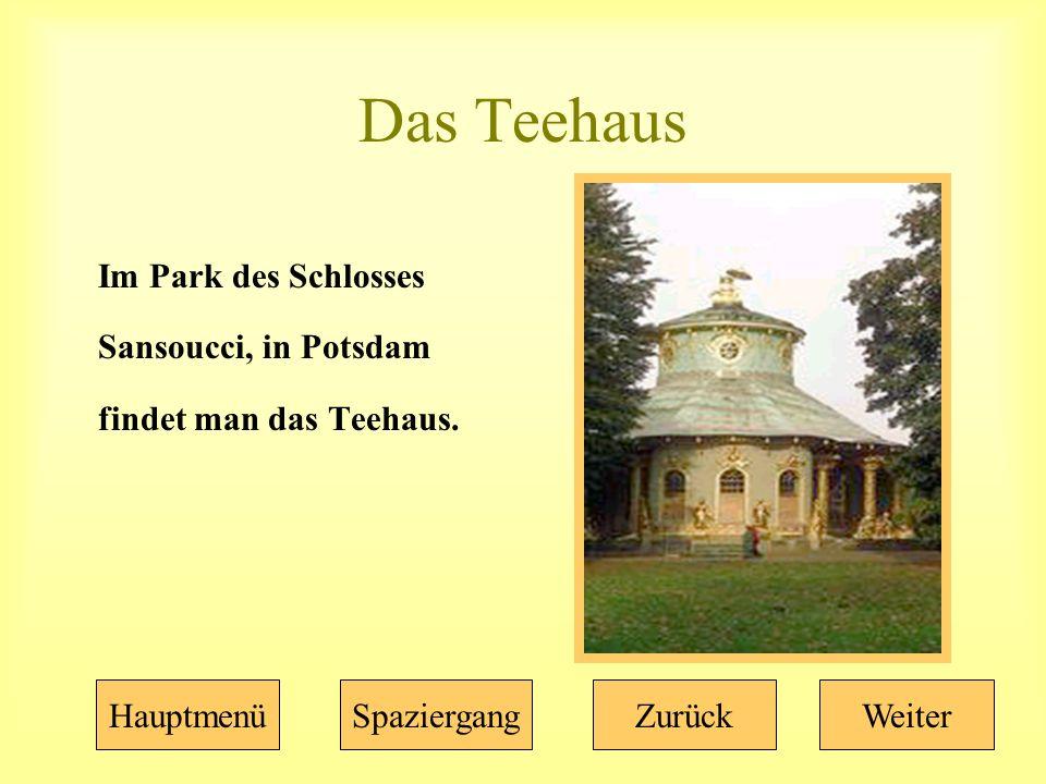Das Teehaus Im Park des Schlosses Sansoucci, in Potsdam findet man das Teehaus.
