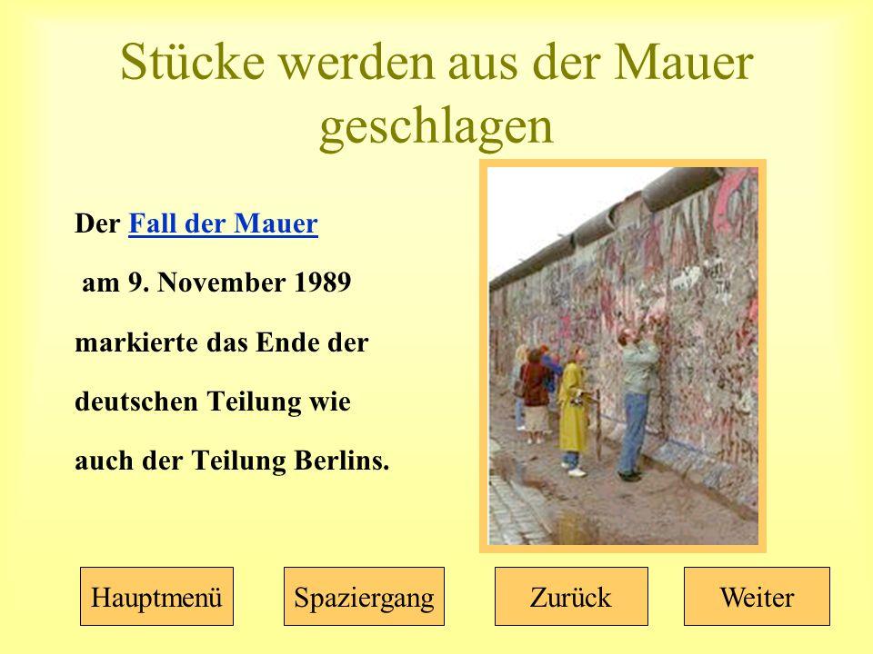 Stücke werden aus der Mauer geschlagen Der Fall der MauerFall der Mauer am 9.