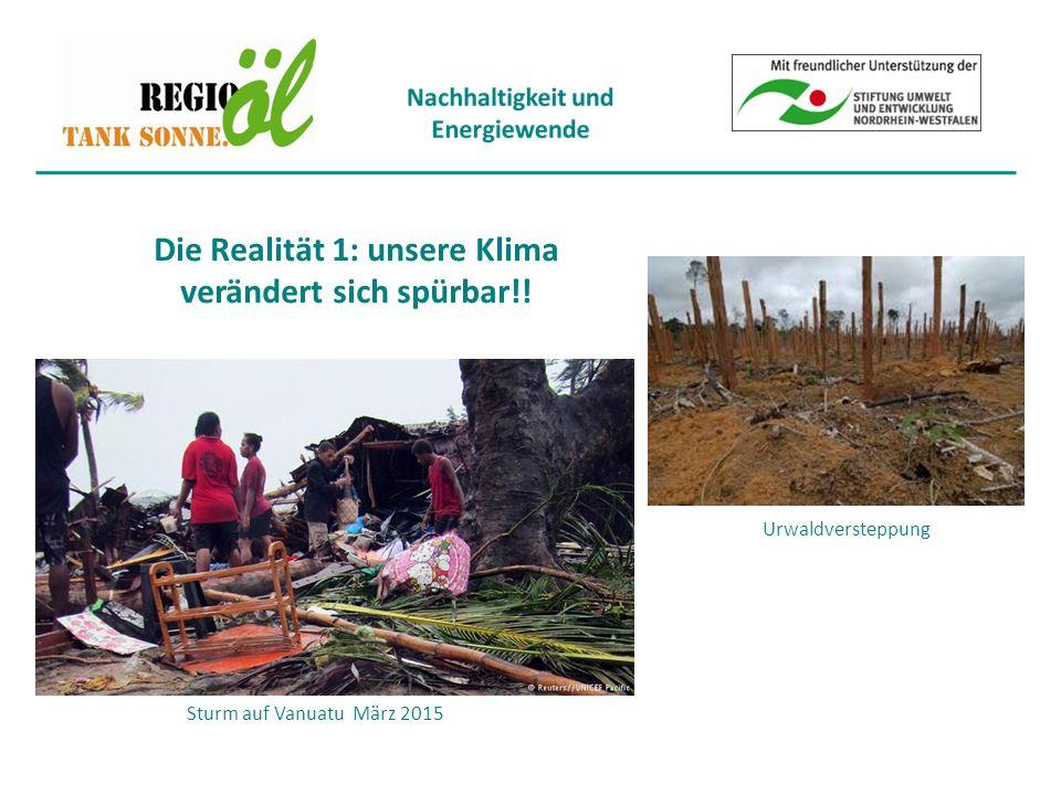 Sturm auf Vanuatu März 2015 Die Realität 1: unsere Klima verändert sich spürbar!! Urwaldversteppung