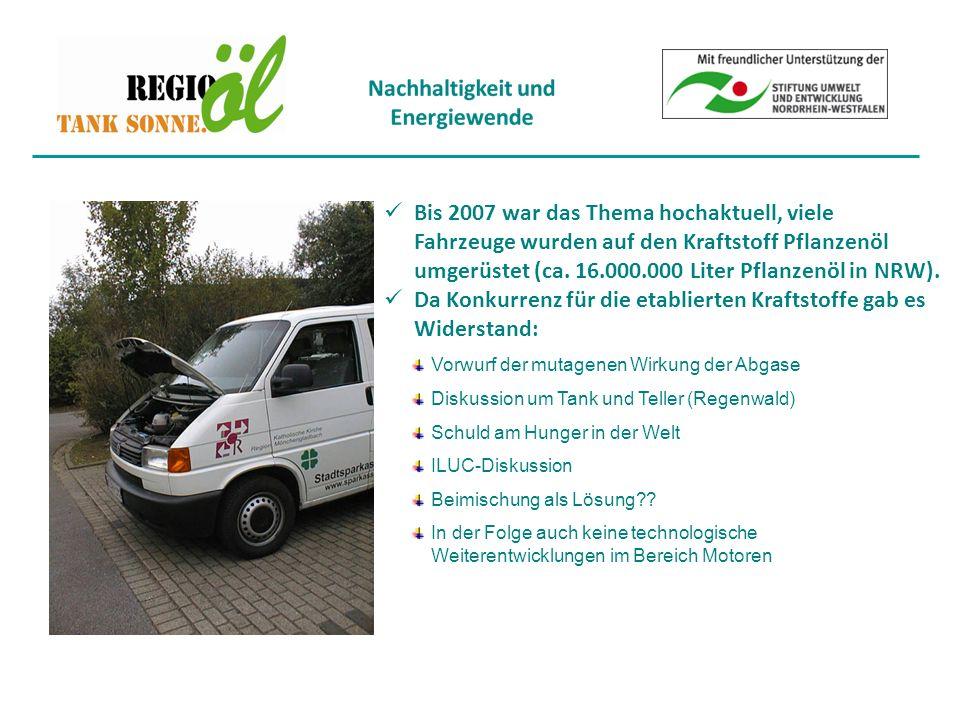 Bis 2007 war das Thema hochaktuell, viele Fahrzeuge wurden auf den Kraftstoff Pflanzenöl umgerüstet (ca.
