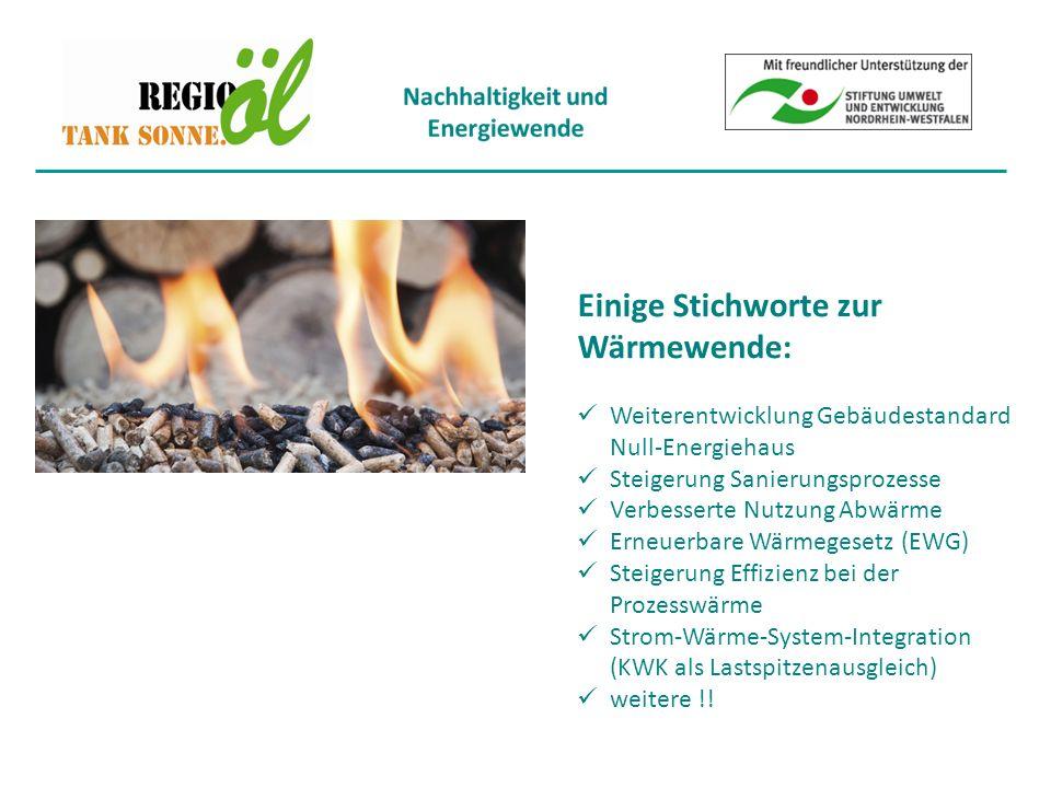 Einige Stichworte zur Wärmewende: Weiterentwicklung Gebäudestandard Null-Energiehaus Steigerung Sanierungsprozesse Verbesserte Nutzung Abwärme Erneuerbare Wärmegesetz (EWG) Steigerung Effizienz bei der Prozesswärme Strom-Wärme-System-Integration (KWK als Lastspitzenausgleich) weitere !!