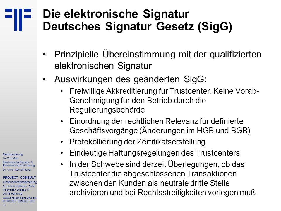 11 Rechtsänderung im IT-Umfeld Elektronische Signatur & Elektronische Archivierung Dr. Ulrich Kampffmeyer PROJECT CONSULT Unternehmensberatung Dr. Ulr