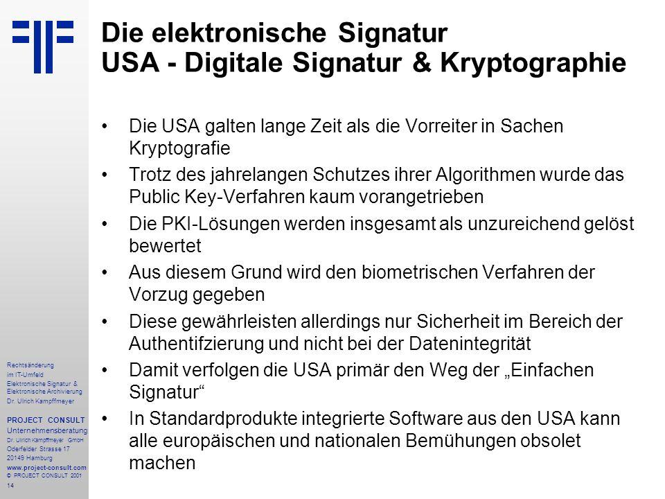14 Rechtsänderung im IT-Umfeld Elektronische Signatur & Elektronische Archivierung Dr. Ulrich Kampffmeyer PROJECT CONSULT Unternehmensberatung Dr. Ulr