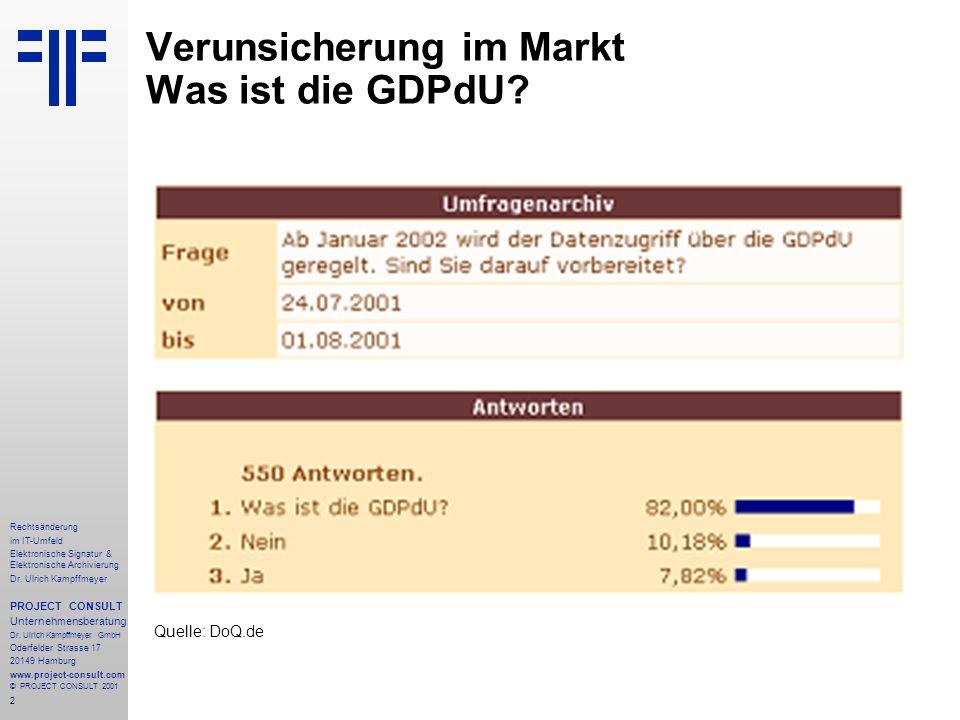 2 Rechtsänderung im IT-Umfeld Elektronische Signatur & Elektronische Archivierung Dr. Ulrich Kampffmeyer PROJECT CONSULT Unternehmensberatung Dr. Ulri
