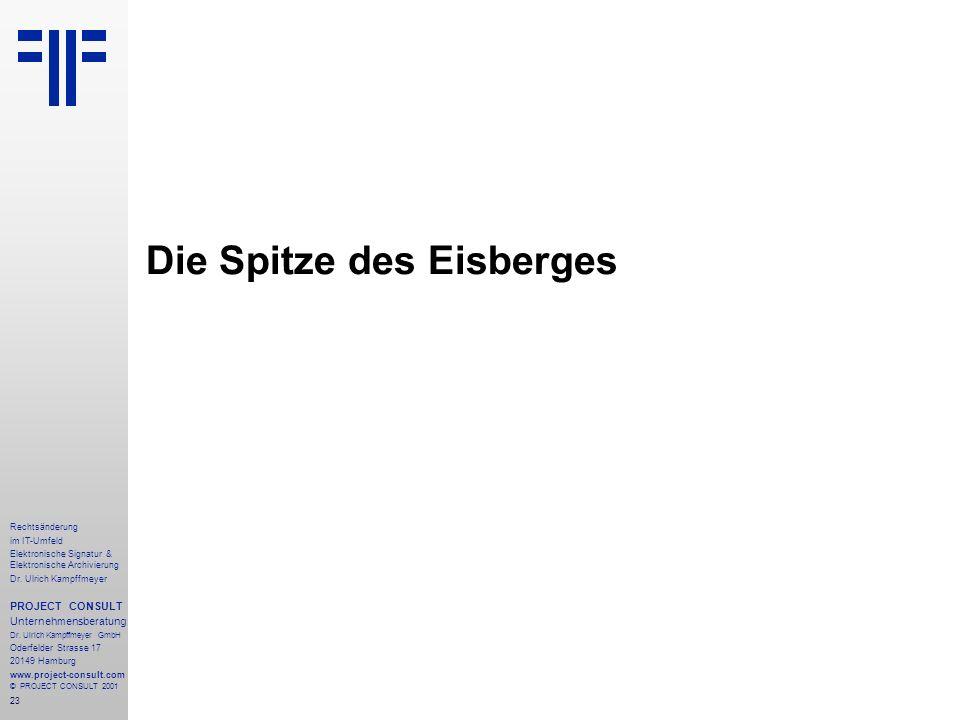 23 Rechtsänderung im IT-Umfeld Elektronische Signatur & Elektronische Archivierung Dr. Ulrich Kampffmeyer PROJECT CONSULT Unternehmensberatung Dr. Ulr