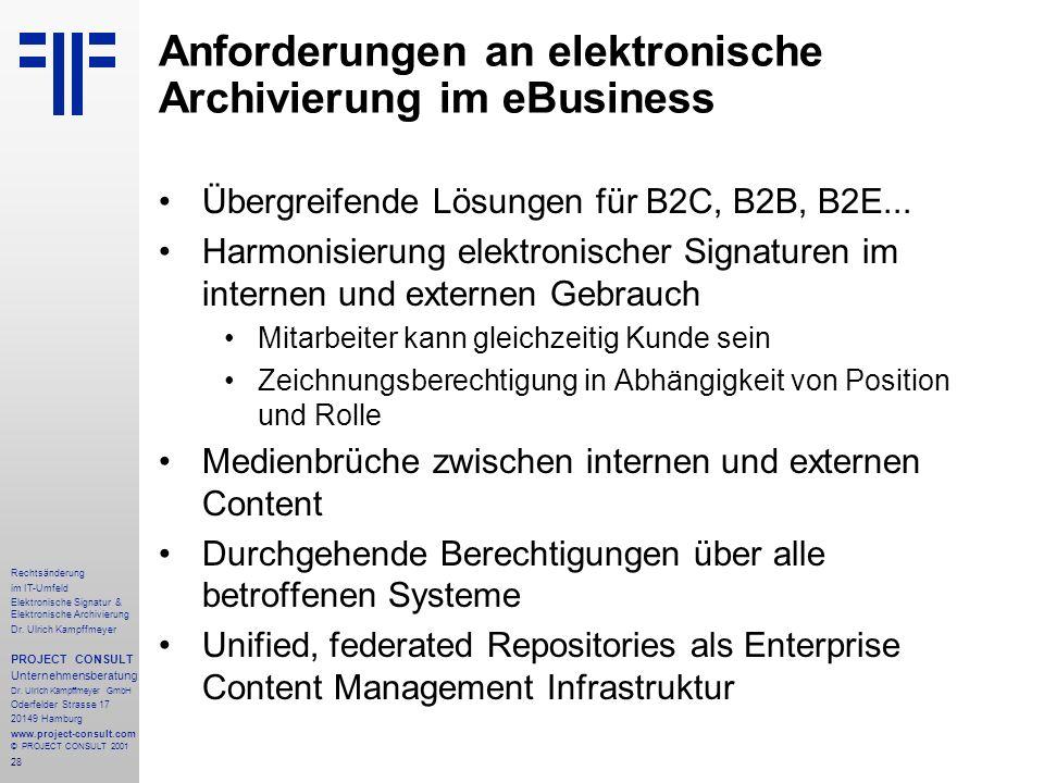 28 Rechtsänderung im IT-Umfeld Elektronische Signatur & Elektronische Archivierung Dr. Ulrich Kampffmeyer PROJECT CONSULT Unternehmensberatung Dr. Ulr