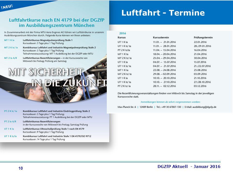 10 Luftfahrt - Termine DGZfP Aktuell - Januar 2016