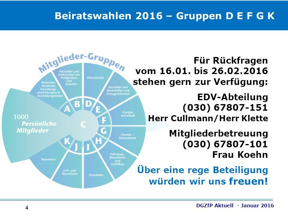 4 DGZfP Aktuell - Januar 2016 Für Rückfragen vom 16.01.