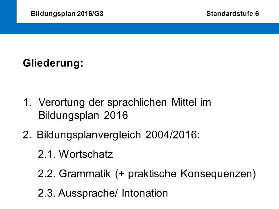 Bildungsplan 2016/G8 Standardstufe 6 Gliederung: 1.Verortung der sprachlichen Mittel im Bildungsplan 2016 2.Bildungsplanvergleich 2004/2016: 2.1. Wort