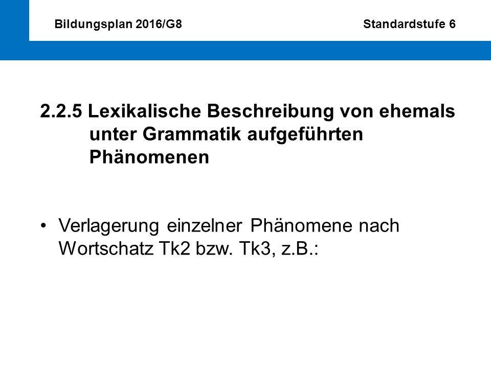 Bildungsplan 2016/G8 Standardstufe 6 2.2.5 Lexikalische Beschreibung von ehemals unter Grammatik aufgeführten Phänomenen Verlagerung einzelner Phänome