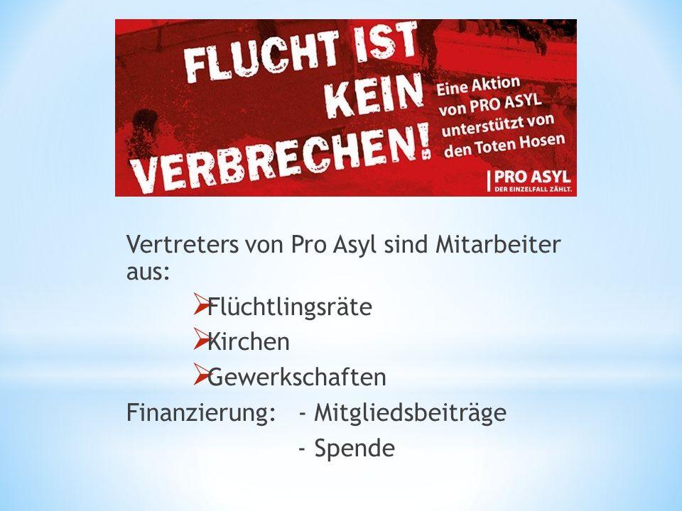 Vertreters von Pro Asyl sind Mitarbeiter aus:  Flüchtlingsräte  Kirchen  Gewerkschaften Finanzierung: - Mitgliedsbeiträge - Spende