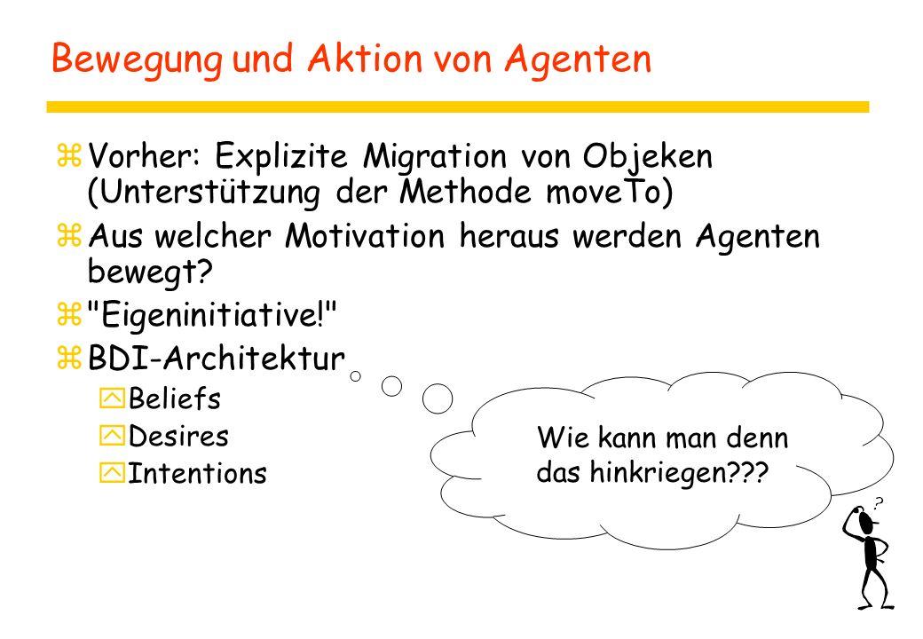 Bewegung und Aktion von Agenten zVorher: Explizite Migration von Objeken (Unterstützung der Methode moveTo) zAus welcher Motivation heraus werden Agenten bewegt.