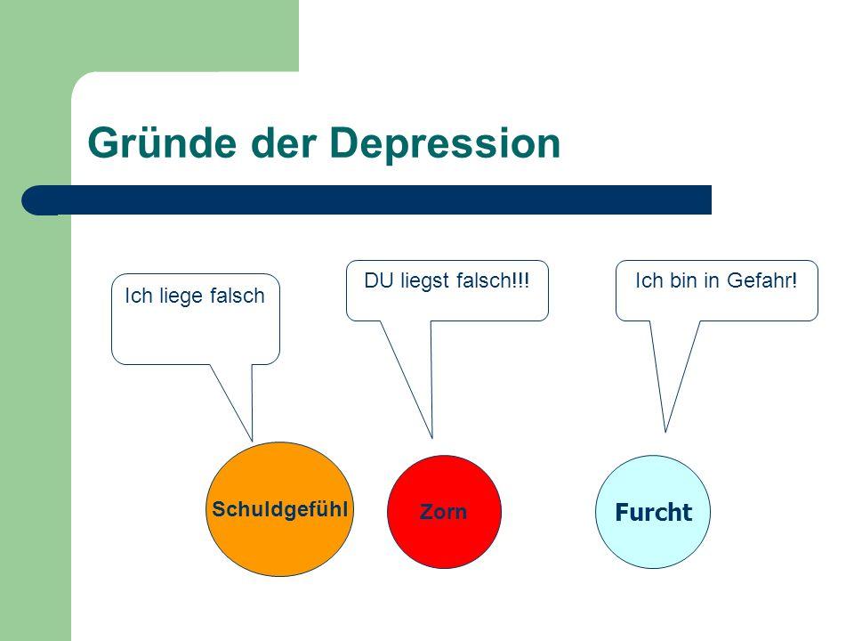 Gründe der Depression Schuldgefühl Furcht Ich liege falsch DU liegst falsch!!.