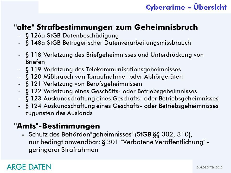 © ARGE DATEN 2015 ARGE DATEN alte Strafbestimmungen zum Geheimnisbruch -§ 126a StGB Datenbeschädigung -§ 148a StGB Betrügerischer Datenverarbeitungsmissbrauch -§ 118 Verletzung des Briefgeheimnisses und Unterdrückung von Briefen -§ 119 Verletzung des Telekommunikationsgeheimnisses -§ 120 Mißbrauch von Tonaufnahme- oder Abhörgeräten -§ 121 Verletzung von Berufsgeheimnissen -§ 122 Verletzung eines Geschäfts- oder Betriebsgeheimnisses -§ 123 Auskundschaftung eines Geschäfts- oder Betriebsgeheimnisses -§ 124 Auskundschaftung eines Geschäfts- oder Betriebsgeheimnisses zugunsten des Auslands Amts -Bestimmungen -Schutz des Behörden geheimnisses (StGB §§ 302, 310), nur bedingt anwendbar: § 301 Verbotene Veröffentlichung - geringerer Strafrahmen Cybercrime - Übersicht ARGE DATEN