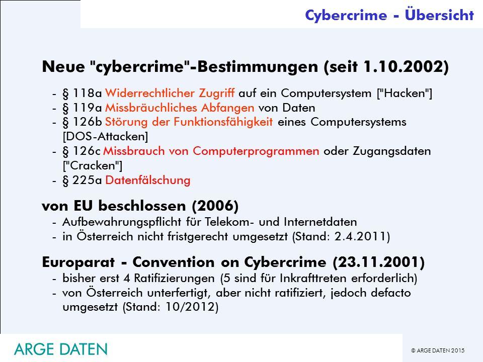 © ARGE DATEN 2015 ARGE DATEN Neue cybercrime -Bestimmungen (seit 1.10.2002) -§ 118a Widerrechtlicher Zugriff auf ein Computersystem [ Hacken ] -§ 119a Missbräuchliches Abfangen von Daten -§ 126b Störung der Funktionsfähigkeit eines Computersystems [DOS-Attacken] -§ 126c Missbrauch von Computerprogrammen oder Zugangsdaten [ Cracken ] -§ 225a Datenfälschung von EU beschlossen (2006) -Aufbewahrungspflicht für Telekom- und Internetdaten -in Österreich nicht fristgerecht umgesetzt (Stand: 2.4.2011) Europarat - Convention on Cybercrime (23.11.2001) -bisher erst 4 Ratifizierungen (5 sind für Inkrafttreten erforderlich) -von Österreich unterfertigt, aber nicht ratifiziert, jedoch defacto umgesetzt (Stand: 10/2012) Cybercrime - Übersicht ARGE DATEN