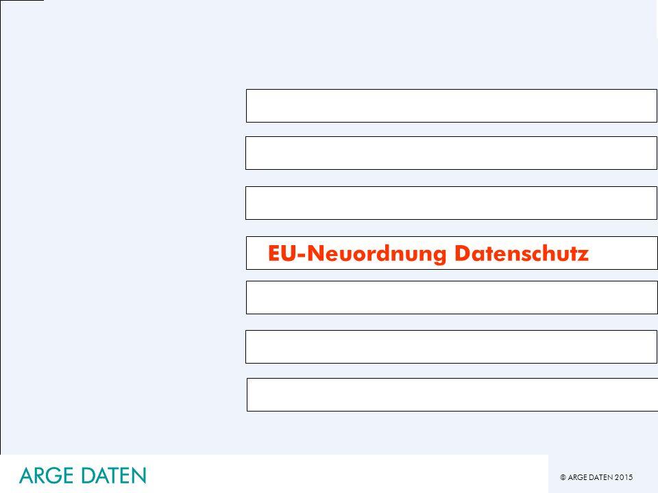 © ARGE DATEN 2015 ARGE DATEN EU-Neuordnung Datenschutz ARGE DATEN