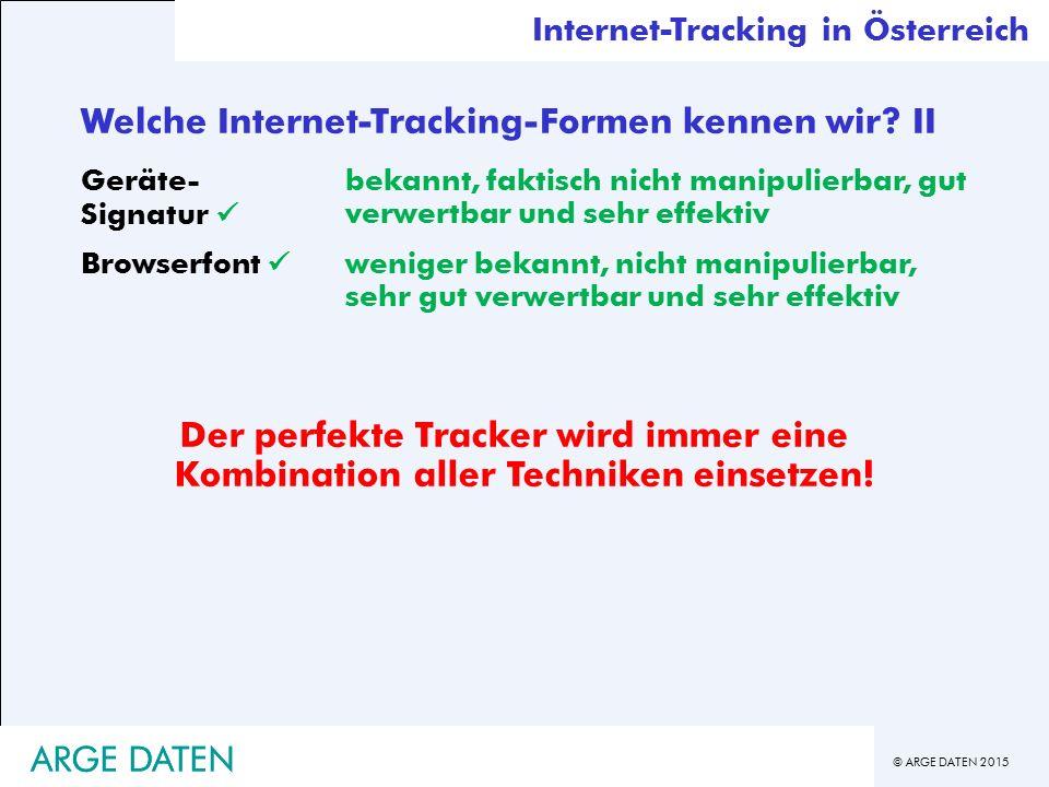 © ARGE DATEN 2015 ARGE DATEN Welche Internet-Tracking-Formen kennen wir.
