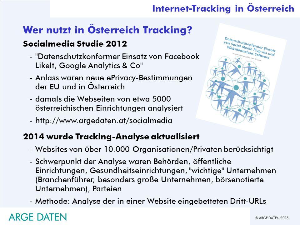 © ARGE DATEN 2015 ARGE DATEN Wer nutzt in Österreich Tracking.
