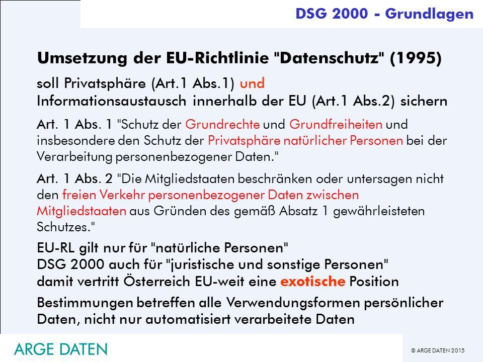 © ARGE DATEN 2015 Umsetzung der EU-Richtlinie Datenschutz (1995) soll Privatsphäre (Art.1 Abs.1) und Informationsaustausch innerhalb der EU (Art.1 Abs.2) sichern Art.