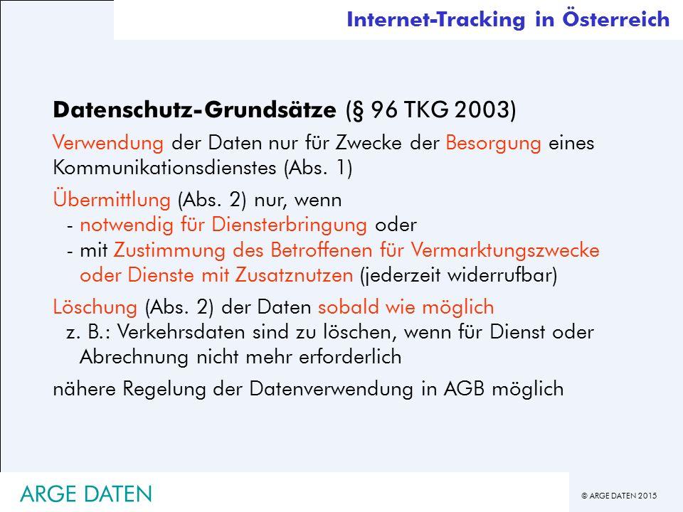 © ARGE DATEN 2015 Datenschutz-Grundsätze (§ 96 TKG 2003) Verwendung der Daten nur für Zwecke der Besorgung eines Kommunikationsdienstes (Abs.