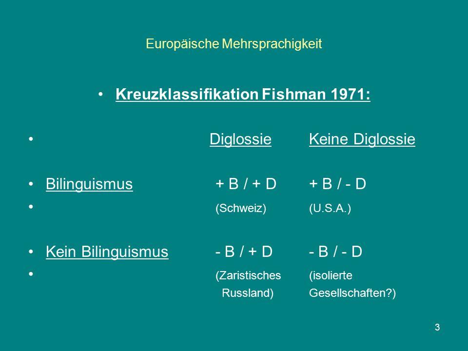 Europäische Mehrsprachigkeit Kreuzklassifikation Fishman 1971: Diglossie Keine Diglossie Bilinguismus+ B / + D+ B / - D (Schweiz)(U.S.A.) Kein Bilinguismus- B / + D- B / - D (Zaristisches(isolierte Russland)Gesellschaften ) 3