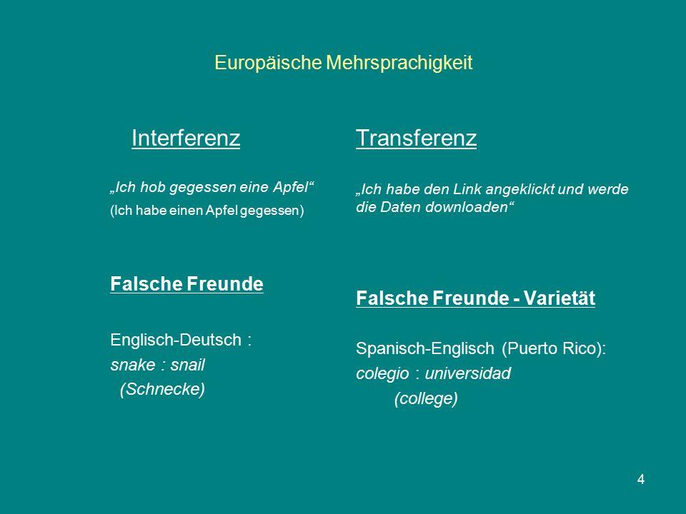 """Europäische Mehrsprachigkeit Interferenz """"Ich hob gegessen eine Apfel"""" (Ich habe einen Apfel gegessen) Falsche Freunde Englisch-Deutsch: snake : snail"""