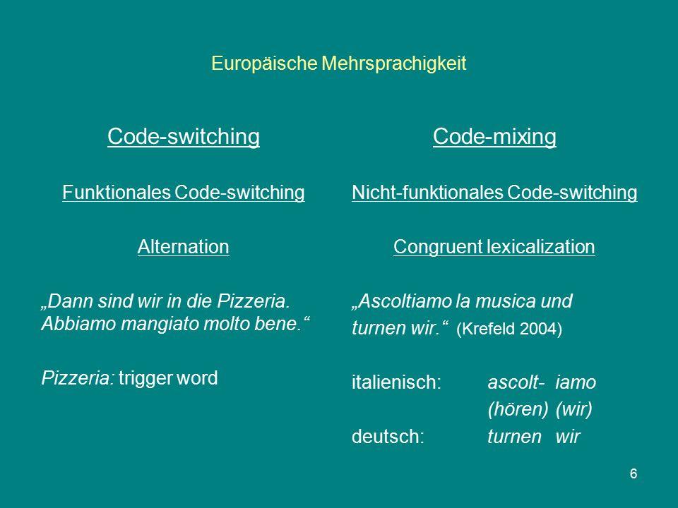 """Europäische Mehrsprachigkeit Code-switching Funktionales Code-switching Alternation """"Dann sind wir in die Pizzeria."""