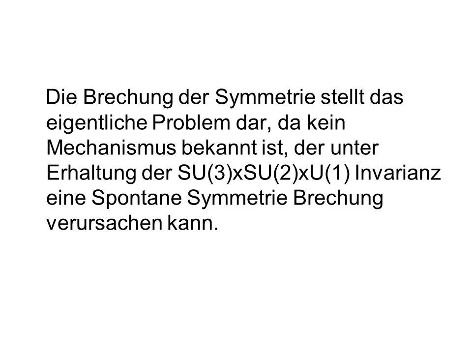 Die Brechung der Symmetrie stellt das eigentliche Problem dar, da kein Mechanismus bekannt ist, der unter Erhaltung der SU(3)xSU(2)xU(1) Invarianz eine Spontane Symmetrie Brechung verursachen kann.