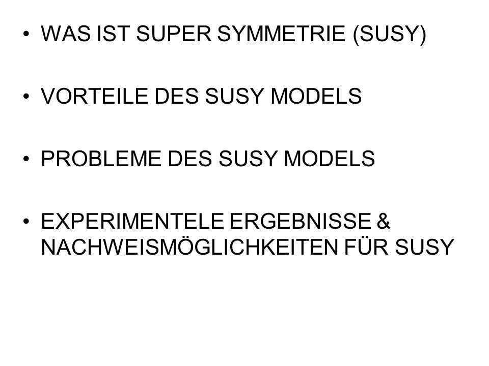 WAS IST SUPER SYMMETRIE (SUSY) VORTEILE DES SUSY MODELS PROBLEME DES SUSY MODELS EXPERIMENTELE ERGEBNISSE & NACHWEISMÖGLICHKEITEN FÜR SUSY