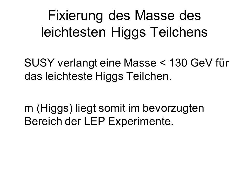 Fixierung des Masse des leichtesten Higgs Teilchens SUSY verlangt eine Masse < 130 GeV für das leichteste Higgs Teilchen. m (Higgs) liegt somit im bev