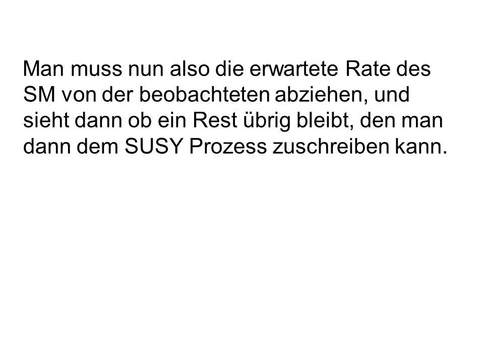 Man muss nun also die erwartete Rate des SM von der beobachteten abziehen, und sieht dann ob ein Rest übrig bleibt, den man dann dem SUSY Prozess zuschreiben kann.