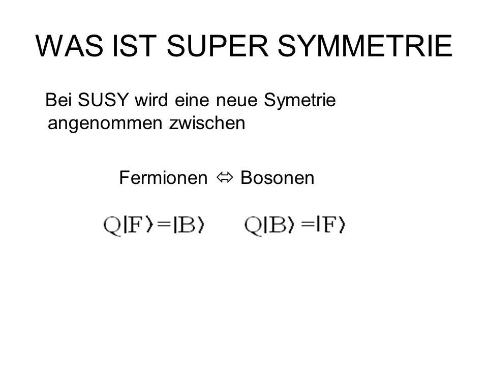 WAS IST SUPER SYMMETRIE Bei SUSY wird eine neue Symetrie angenommen zwischen Fermionen  Bosonen