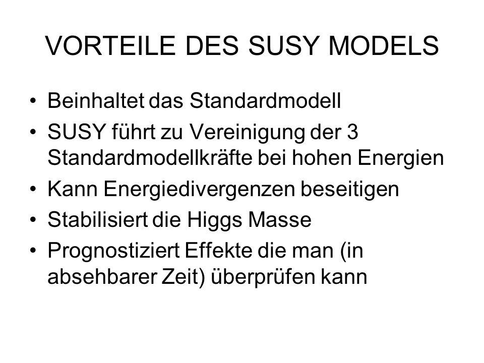 VORTEILE DES SUSY MODELS Beinhaltet das Standardmodell SUSY führt zu Vereinigung der 3 Standardmodellkräfte bei hohen Energien Kann Energiedivergenzen beseitigen Stabilisiert die Higgs Masse Prognostiziert Effekte die man (in absehbarer Zeit) überprüfen kann