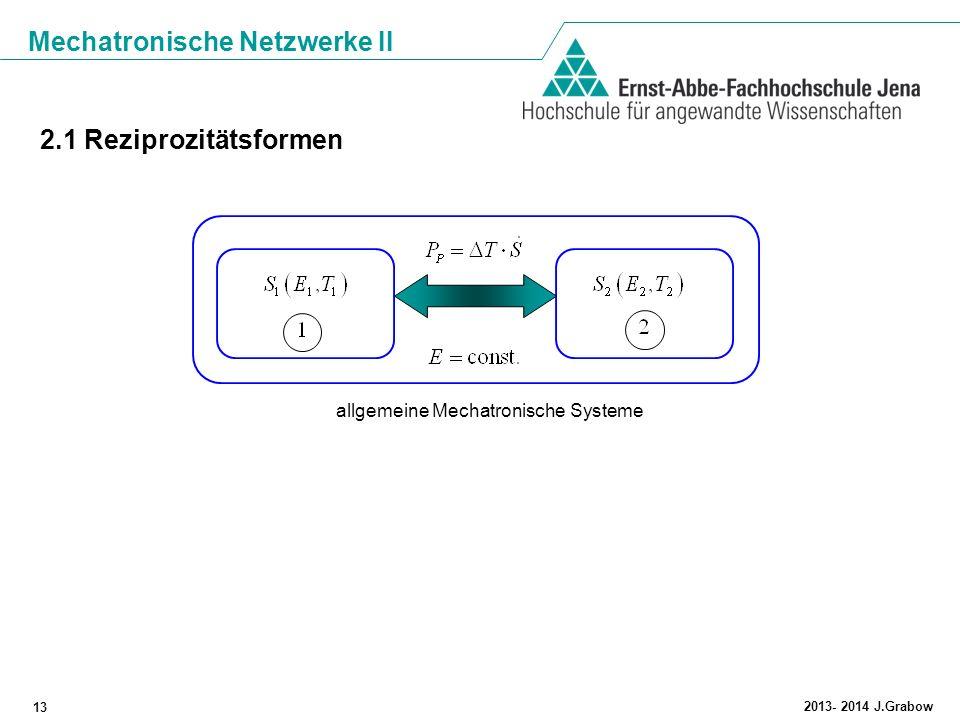 Mechatronische Netzwerke II 13 2013- 2014 J.Grabow 2.1 Reziprozitätsformen allgemeine Mechatronische Systeme