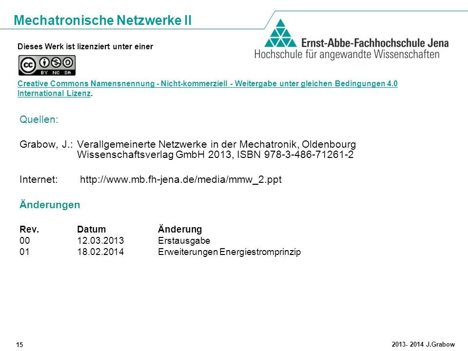 Mechatronische Netzwerke II 15 2013- 2014 J.Grabow Dieses Werk ist lizenziert unter einer Creative Commons Namensnennung - Nicht-kommerziell - Weiterg