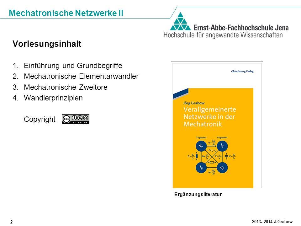 Mechatronische Netzwerke II 2 2013- 2014 J.Grabow Vorlesungsinhalt 1.Einführung und Grundbegriffe 2.Mechatronische Elementarwandler 3.Mechatronische Z