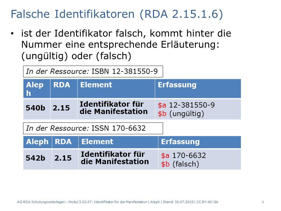 Falsche Identifikatoren (RDA 2.15.1.6) ist der Identifikator falsch, kommt hinter die Nummer eine entsprechende Erläuterung: (ungültig) oder (falsch) AG RDA Schulungsunterlagen – Modul 3.02.07: Identifikator für die Manifestation | Aleph | Stand: 30.07.2015 | CC BY-NC-SA 9 Alep h RDAElementErfassung 540b2.15 Identifikator für die Manifestation $a 12-381550-9 $b (ungültig) In der Ressource: ISBN 12-381550-9 AlephRDAElementErfassung 542b2.15 Identifikator für die Manifestation $a 170-6632 $b (falsch) In der Ressource: ISSN 170-6632