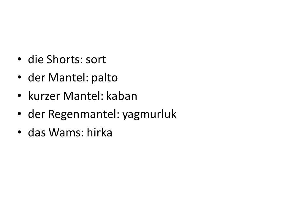 die Shorts: sort der Mantel: palto kurzer Mantel: kaban der Regenmantel: yagmurluk das Wams: hirka