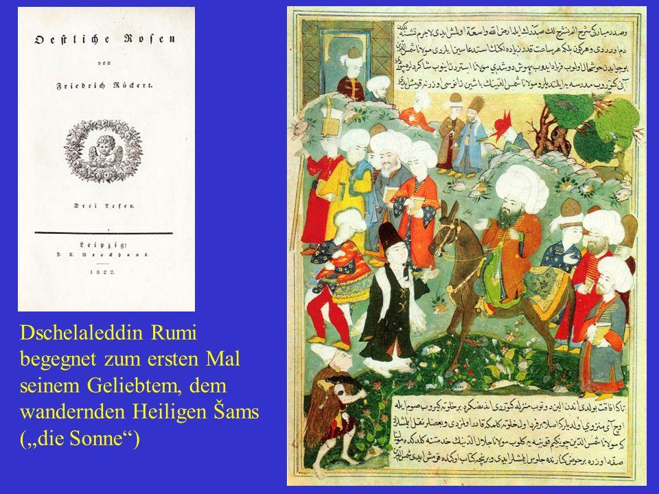 """Dschelaleddin Rumi begegnet zum ersten Mal seinem Geliebtem, dem wandernden Heiligen Šams (""""die Sonne"""")"""