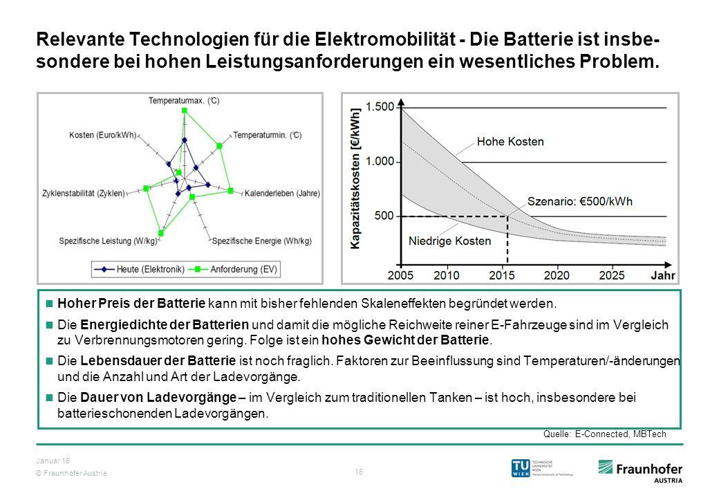 © Fraunhofer Austria 16 Januar 16 Relevante Technologien für die Elektromobilität - Die Batterie ist insbe- sondere bei hohen Leistungsanforderungen e