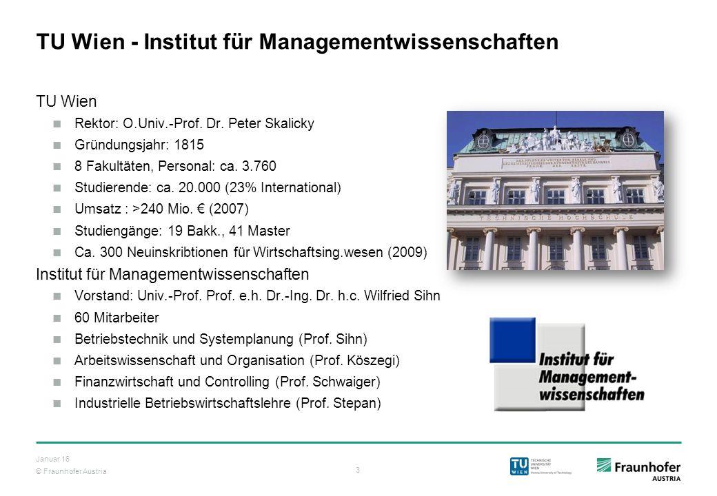 © Fraunhofer Austria 3 Januar 16 TU Wien - Institut für Managementwissenschaften TU Wien Rektor: O.Univ.-Prof. Dr. Peter Skalicky Gründungsjahr: 1815
