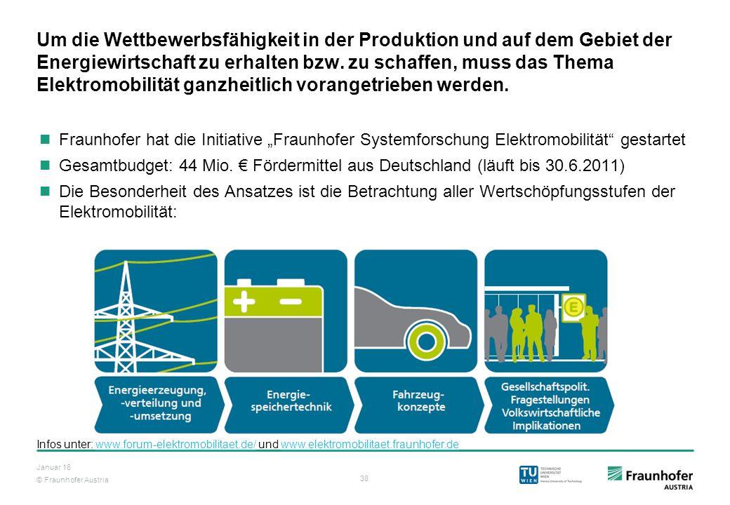 © Fraunhofer Austria 38 Januar 16 Um die Wettbewerbsfähigkeit in der Produktion und auf dem Gebiet der Energiewirtschaft zu erhalten bzw. zu schaffen,