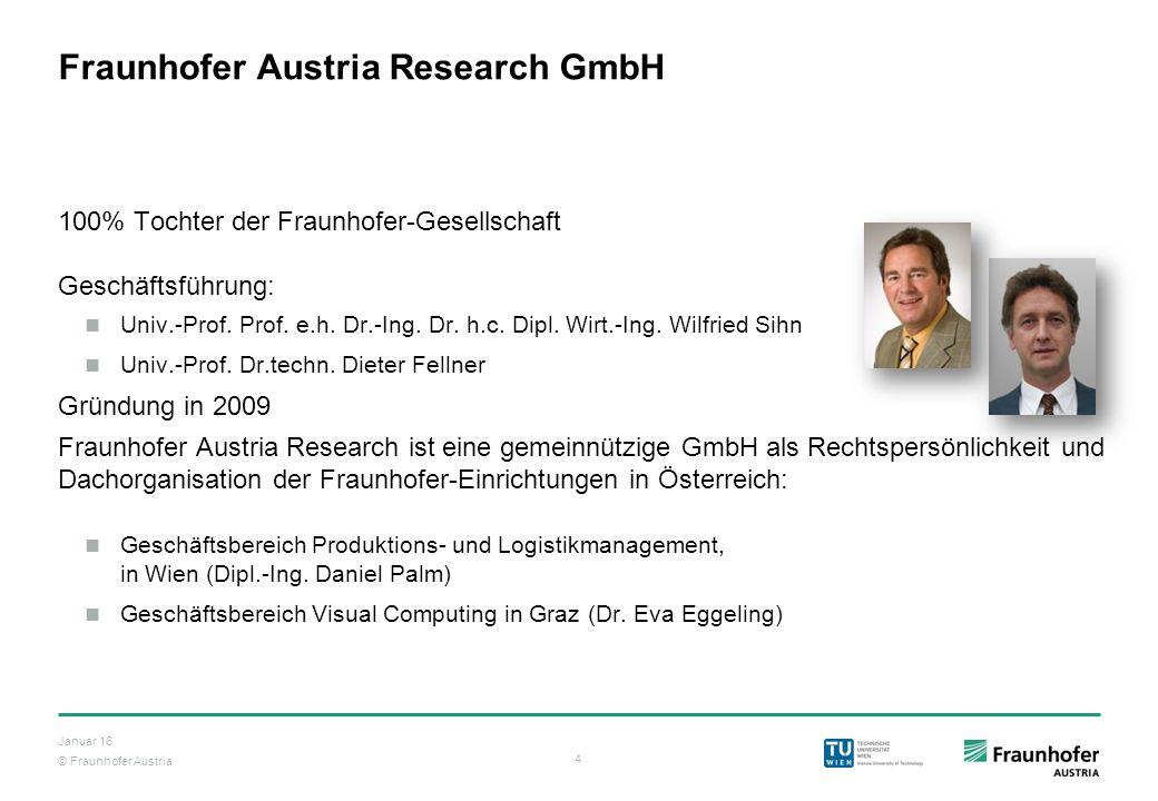 © Fraunhofer Austria 4 Januar 16 Fraunhofer Austria Research GmbH 100% Tochter der Fraunhofer-Gesellschaft Geschäftsführung: Univ.-Prof. Prof. e.h. Dr
