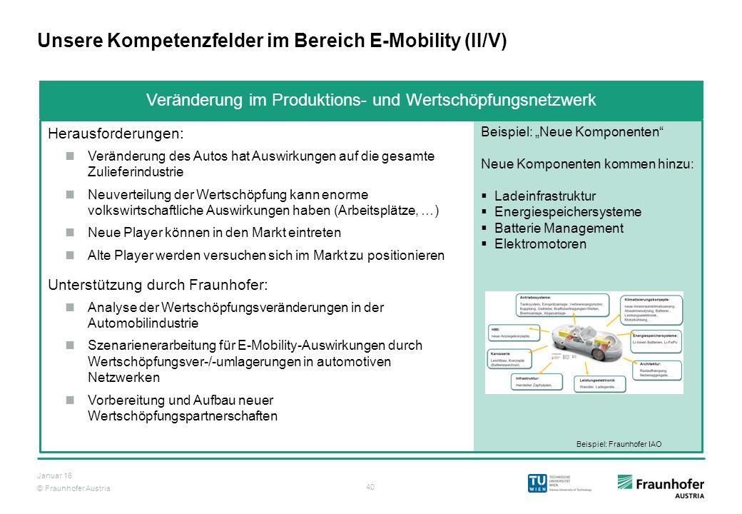 © Fraunhofer Austria 40 Januar 16 Veränderung im Produktions- und Wertschöpfungsnetzwerk Unsere Kompetenzfelder im Bereich E-Mobility (II/V) Herausfor