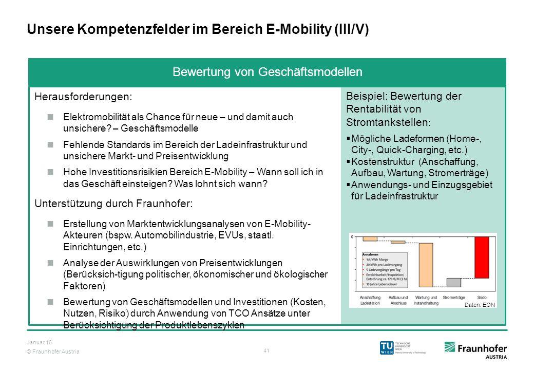 © Fraunhofer Austria 41 Januar 16 Unsere Kompetenzfelder im Bereich E-Mobility (III/V) Herausforderungen: Elektromobilität als Chance für neue – und d